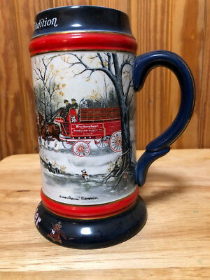 1990 Budweiser Beer Stein Holiday Collection Christmas Snow Clydsedale Horses