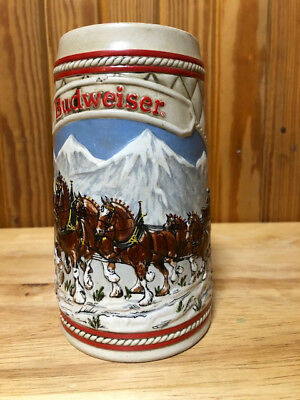 """1985 Budweiser """"A"""" series Christmas Clydesdales Holiday Collector Beer Stein Mug"""