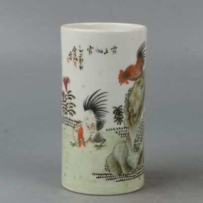 Chinese Exquisite Handmade Cock and floral pattern Porcelain Brush Pots