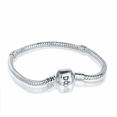 European Silver Bracelet 925 Bangle Chain Fit Sterling Charm Beads Beads YH
