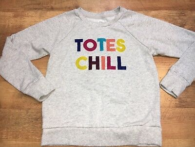 Gap Kids Girls TOTES CHILL Sweatshirt SZ Large Long sleeve Gray Rainbow