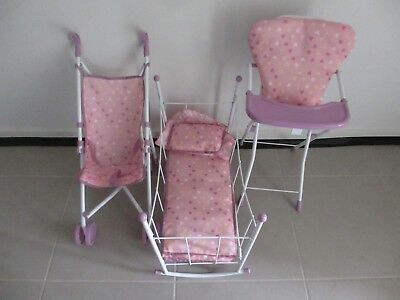 Doll Accessories - Stroller/Pram, Bassinet, and High Chair