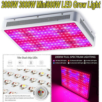 3000W 2000W LED Grow Light Hydro Full Spectrum Veg Indoor Plant Lamp Panel Bloom