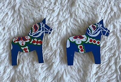Dala Horses Magnets Sweden Hand Painted Swedish Lot of 2 Beautiful Vtg Wooden