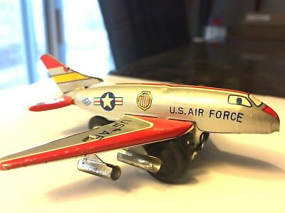 Old Vintage Tin Friction Powered US Air Force Plane toy from Japan 1960