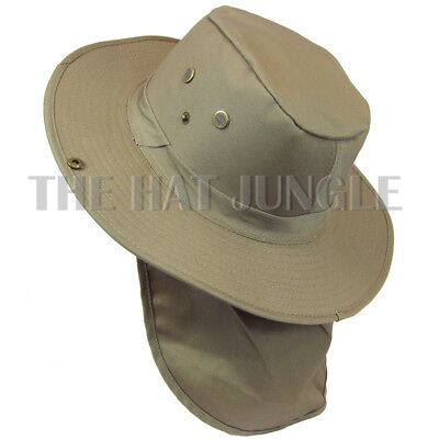 Boonie Hat with Neck Flap Fishing Hiking Outdoor Cap Snap Wide Brim Khaki Beige