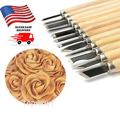 """12Pc 5"""" Wood Carving Hand Chisels Tool Set Woodworking Gouge Tool US"""