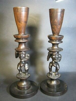 Rare Vintage Hand Made Hardwood Candle Holder Pair 345 Mm . Un