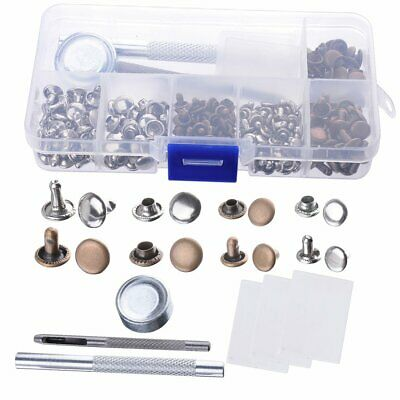120 Set Leather Rivets Double Cap Rivets Metal Fixing Tool Kit for Leather Craft