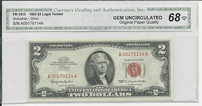 Beautiful 1963 $2 Legal Tender Red Seal Note Certified Gem Uncirculated 68