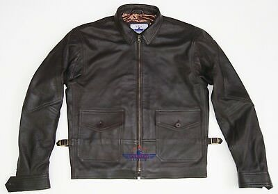 Mens Real Leather G8 Navy Aviation Wing Force Military Naval Armed Flying Jacket