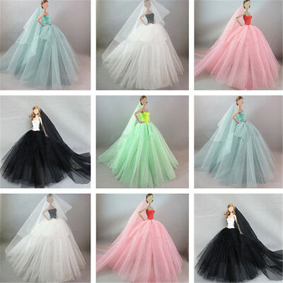 Handmade Royalty Princess Dress/Wedding Clothes/Gown + veil for Barbie Doll