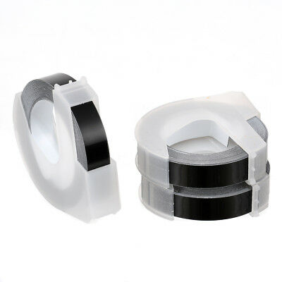 3 rolls Black 3D Embossing Refill Tape Labels Fits for DYMO 9mmx3m Organizer