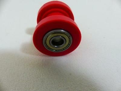 Red 8mm Bearing Hole Cotton Reel Type Nylon Chain Roller For Pit Bikes.