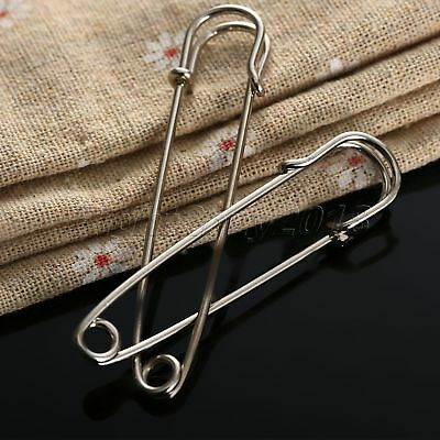 10Pcs 2 Size Silver Metal Safety Pins Brooch Badge Sewing Accessories 65/75mm