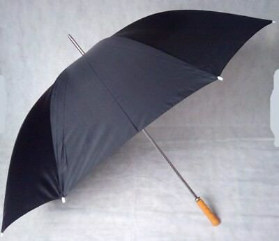 Black Golf Umbrella with Double Ribs & White Tips