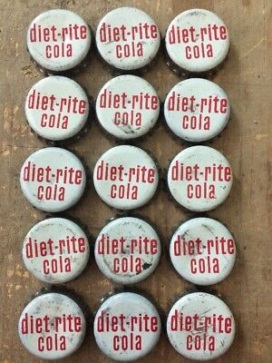 Vintage Used Lot Of 15 diet-rite cola Soda Pop Cork Lined Bottle Caps