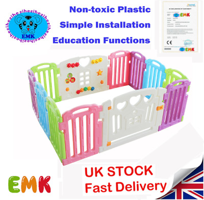10+2Panels Mixed Colors Plastic Baby Playpen With Education Functions&Game Panel