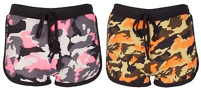 Noroze Girls Kids Camo BRKLYN Rose NY88 Print Stretch Summer Hot Pants Shorts