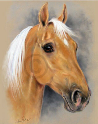 TENNESSEE WALKING HORSE PALOMINO ART PRINT Pastel by Maureen Shelleau SIGNED!