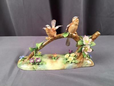 AntQ Hand Painted Large Staffordshire Chaffinchs On Branch By J. T. Jones