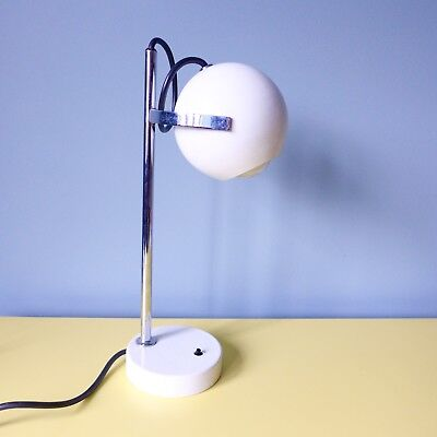 Vintage MID CENTURY RETRO Chrome and White Swivel Round Headed, Table/Desk Lamp
