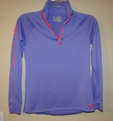 Girls Under Armour 1/4-Zip Loose Fit HeatGear Athletic Shirt Pullover YLG