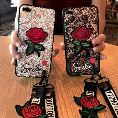 Luxury Smile Lace Embroidery Rose Flower Hard Slim Case Cover For Huawei+Lanyard
