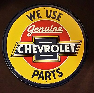Chevrolet Chevy Genuine Parts Round Retro Vintage Tin Sign