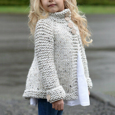 Fashion Baby Cute Girls Outfit Clothes Button Knitted Sweater Cardigan Coat Tops