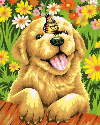 Paint by Numbers Kit 40x50cm with FRAME - Just Cute Golden Retriever