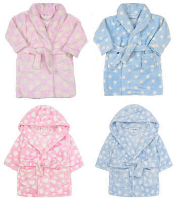Baby Dressing Gown Snuggle Robe Hooded Or Shawl Collar Styles Boys And Girls