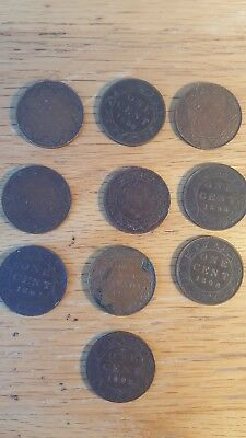 Canada Large Cent Lot of 10 Coins