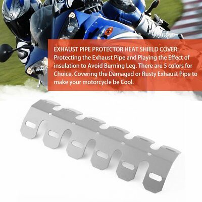 Aluminum Motorcycle Exhaust Muffler Pipe Protector Heat Shield Cover Silver 7P