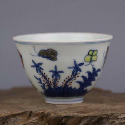 China antique porcelain MING CHENGHUA hand painted blue & white Butterfly cup