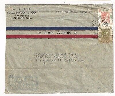 1946 Hong Kong China, Commercial Airmail , Imperial Airways to Los Angeles CA