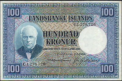 Iceland  100 Kronur  15.4.1928  P 35b  WW II issue Circulated banknote