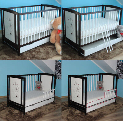 Bears Wenge/white Baby Cot/junior Bed With Drawer + Optional Mattress Barrier