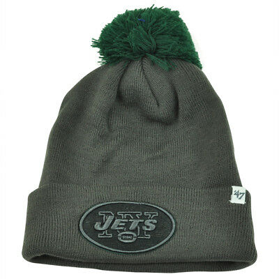 NFL  47 Brand New York Jets Justus Charcoal Pom Cuffed Knit Beanie Skully  Toque 4481e126d