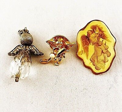 (Lot of 3) Vintage Small Guardian Angel Theme Tie Tack Lapel Pendant Pin Charm