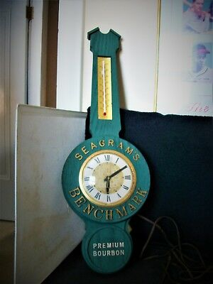 Vintage Seagrams Benchmark Premium Bourbon Electric Wall Clock / Thermometer