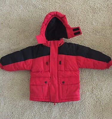 Kid's Red Hooded Ski Jacket Size 3T