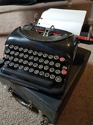 Excellent Working 1930's Remington 5 Rand Portable Typewriter w Case and Key
