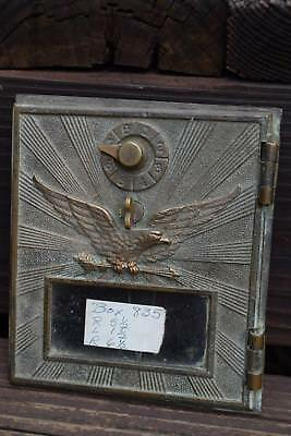 Vintage Large Brass Post Office Box Door Single Dial American Eagle Antique