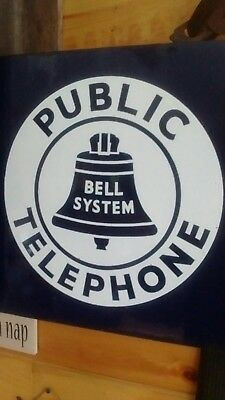 VINTAGE BELL SYSTEM PUBLIC TELEPHONE DOUBLE-SIDED PORCELAIN FLANGE SIGN 11x11