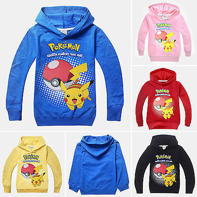Pokemon Pikachu Kids Boys Girls Clothes Hoodies Sweatshirt Hoodie Tops Coat UK
