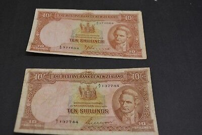 1940-55 New Zealand Reserve Bank Ten Shillings Banknotes Both Notes!!