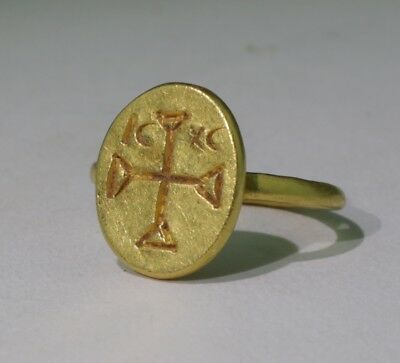 Lovely Ancient Roman Byzantine Gold Ring With Cross Monogram  Circa-6Th C Ad