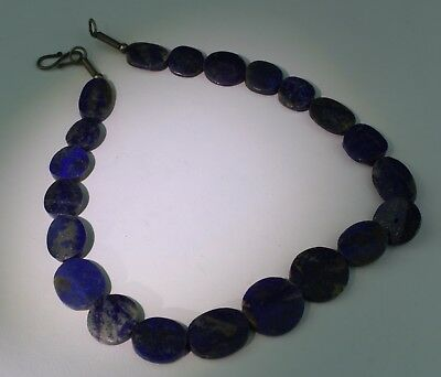 Large Ancient Carved Lapis Bead Necklace - No Reserve 01