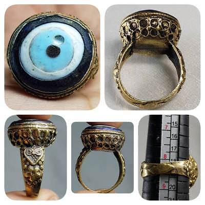 Ancient Mosaic Glass Beautiful Brass Unique Ring   # F1